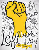 Design with Doodles around a Fist to Celebrate Left-handers Day, Vector Illustration royalty free illustration