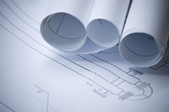 Design draft. Papers and draft paper rolls stock photos