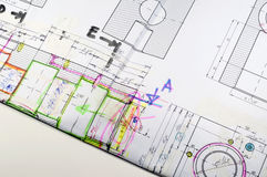 Design drawing with changes Stock Photography