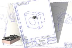 A design drawing with 3D screws Stock Images