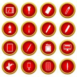 Design and drawing tools icon red circle set. Design and drawing tools set. Simple illustration of 16 design and drawing tools vector icon red circle set Stock Photography