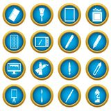 Design and drawing tools icons blue circle set. Design and drawing tools set. Simple illustration of 16 design and drawing tools vector icons blue circle set Stock Images