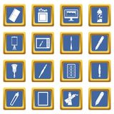 Design and drawing tools icons set blue. Design and drawing tools set. Simple illustration of 16 design and drawing tools vector icons set in blue color isolated Royalty Free Illustration