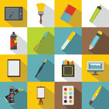 Design and drawing tools icons set, flat style Royalty Free Stock Photo
