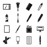 Design and drawing tools icons set, simple style Stock Image