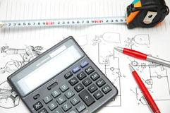 Design drawings, calculator, p Royalty Free Stock Image