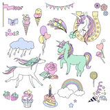 Design dream elements 18. Hand-drawn elements rainbow, unicorn, cloud, cake, sweets, flower, strawberry, ice-cream, flag for patches, stickers design cards and stock illustration