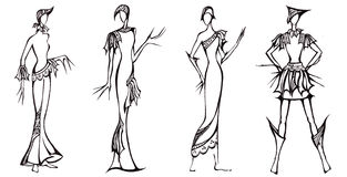 Design of dresses based on the knight armor Stock Images
