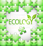 Ecology-related tag cloud puzzle  illustration Stock Images