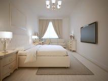 Design of ecru bedroom. Large doble bed with bedside tables of both side. Light furniture. 3D render Royalty Free Stock Image