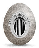 Decorative stone eggs. Decorative stone egg shaped with window, a very unusual idea. An artistically presented and blended combination of stone and romantic Royalty Free Stock Photos