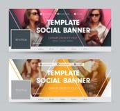 Design einer Abdeckung für soziale Netzwerke mit dreieckigen Elementen a lizenzfreie abbildung