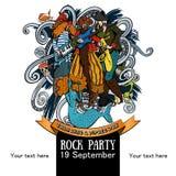 Design eines Plakats für eine Felsenpartei für ein Feiertag Gespräch wie einen Piraten Day03 Stockfotos
