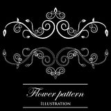 Design element on a black background. White design element flowers on a black background Royalty Free Illustration