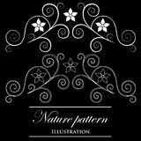 Design element on a black background. White design element flowers on a black background Stock Illustration