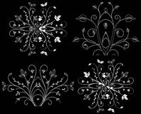 Design element on a black background. White design element flowers on a black background Stock Photography
