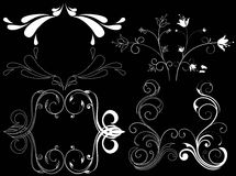 Design element on a black background. White design element flowers on a black background Stock Images