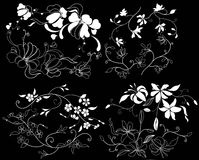 Design element on a black background. White design element flowers on a black background Royalty Free Stock Photo