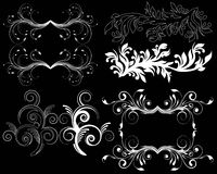 Design element on a black background. White design element flowers on a black background Royalty Free Stock Images