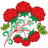Design element with a branch of raspberries Stock Photo