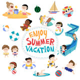 Design element and children for summer season Royalty Free Stock Images