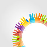 Design element with colorful hands Royalty Free Stock Images