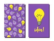 Idea lamp card template. Design element with electric lamp pattern. Light bulb icon card template stock illustration