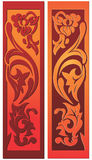Design element with floral ornaments. Decoration - stylized floral elements. Looks like old wood carving stock illustration