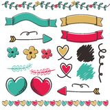 Design Element With Hand Draw Style. Cute element ribbon and love with hand draw style Royalty Free Stock Photos