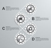 Design element infographics or information brochure of engineering subjects in the form of gears. Stock Images