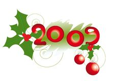 Design element with mistletoe. And number 2009 stock illustration