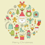 Design element for postcard, invitation or banner. With different Christmas symbols made in line style vector. Santa Claus, Christmas tree, Christmas vector illustration