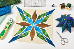 Design of  element quilt in progress, prepared cut pieces Stock Image