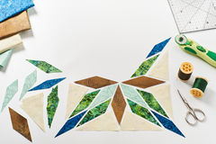Design of  element quilt in progress, prepared cut pieces Royalty Free Stock Photo