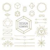 Design element set mono line art geometry symbol Royalty Free Stock Photo