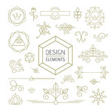 Design element set mono line art ornamental nature Stock Photo