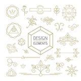 Design element set mono line art ornamental nature Stock Photo