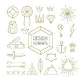 Design element set outline line art shapes Stock Photography