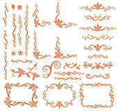 Design element set. Vector set of design element simple scroll shape with flowers and leaves Royalty Free Stock Photography