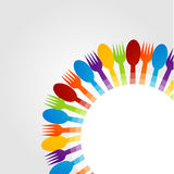 Design element with spoons and fork Royalty Free Stock Photo
