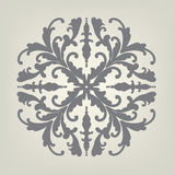 Design element vector of fancy symmetrical pattern in dark gray on neutral off white or light brown color background, elegant Vict. Pretty ornate design element vector illustration