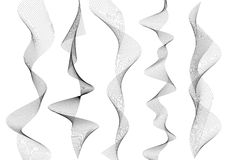 Design element wavy ribbon from many parallel lines02. Design elements. Wave of many gray lines. Abstract vertical wavy stripes on white background isolated Stock Photos