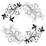 Design element on a white background. Black design element flowers on a white background Royalty Free Stock Images