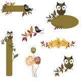 Design elements. Set of design elements with owls and flowers Stock Photo