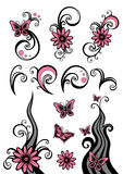 Design elements. Pink and black design elements with flowers and butterfly Royalty Free Stock Photos