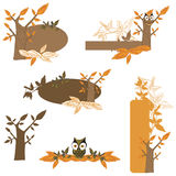 Design elements. Set of design elements with owls and leaves Stock Photos