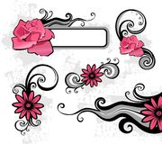 Design elements. Grey Design elements with pink flowers Stock Images