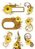 Design elements. Brown Design elements with yellow flowers Royalty Free Stock Image