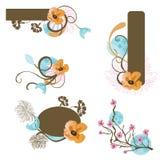 Design elements. Set of design elements with floral patterns Stock Images