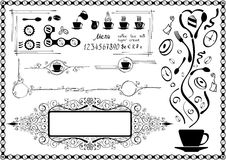 Design elements. Vectorized ornate black&white design with box for text. All elements are separated. Color can be change by one key color. All text was made by royalty free illustration